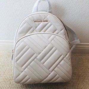 Micheal Kors Cream Quilted Backpack